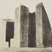 Möhwald, Otto (1933 Krausebauden - 2016 Halle/S.) Lithografie auf Hahnemühle, Stadtlandschaft, unter