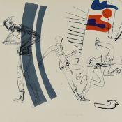 Schnürpel, Peter (1941 Leipzig - tätig in Altenburg) Farblithografie, Bewegungsstudie eines Läufers,