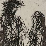 """Uhlig, Max (1937 Dresden - tätig ebd.) Radierung, """"Begegnung"""", unter der Darstellung in Blei"""