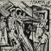 """Volmer, Steffen (1955 Dresden - tätig in Chemnitz) Lithografie auf Bütten, """"Marta ist geöffnet ->"""