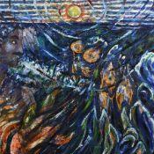Monogrammiert Öl/Lwd., expressionistische Wasserlandschaft mit Kopf und Fischen, links unten
