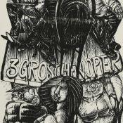 """Hirsch, Karl-Georg (1938 Breslau - tätig u.a. in Leipzig) Holzstich auf feinem Papier, """"Brecht - 3"""