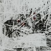 Brockhage, Hans (1925 Schwarzenberg - 2009 ebd.) großformatiger Holzdruck in Schwarz und Blutrot auf