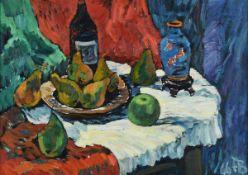 Bley, Fredo (1929 Mylau - 2010 Reichenbach/Vogtl.) Öl/Pappe, Stillleben mit Birnen, Flaschen und