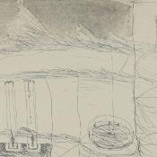 Bohrmann, Karl (1928 Mannheim - 1998 Köln) Radierung, Ansicht von Flasche, Uhr und Kran-Haken, unter