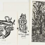 Konvolut Kleingrafiken insg. über 25 Stück, versch. Techniken, u.a. Radierung, Lithografie,