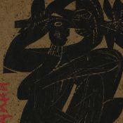Grieshaber, HAP (1909 Rot an der Rot - 1981 Eningen unter Achalm) Holzschnitt, schwarze Figur auf