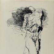 Schnürpel, Peter (1941 Leipzig - tätig in Altenburg) Lithografie, stehende Figur (gehend), unter der
