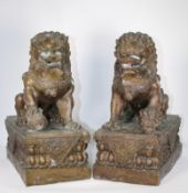 Pair, Antique Chinese Bronze Foo Lions