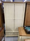20th cent. Shabby Chic four piece bedroom suite, Wardrobe, six drawer chest, two drawer side table