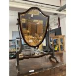 19th cent. Hepplewhite style shield shaped dressing table mirror.