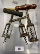 Wine Collectables/Corkscrews: Late 19th/early 20th cent. German corkscrews, one spring assist,