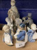 20th cent. Ceramics: Royal Copenhagen Boy with Sailing Boat No. 3772, Little Horn Blower No. 3689,