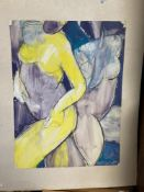 20th cent. British School watercolour and charcoal contemporary study of 2 nudes enhanced with