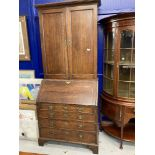 18th cent. Oak bureau bookcase with fitted interior. 36ins. x 84ins.