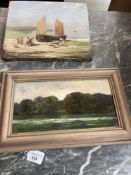 19th cent. & later Original oils to include a coastal landscape 12ins. x 10ins. plus a landscape