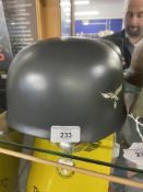 Militaria: WWII replica German Paratrooper's steel helmet with Luftwaffe insignia, mint condition,