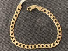 Hallmarked Gold: 9ct. Gold bracelet hallmarked Sheffield. Weight 8·7g.