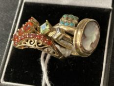 Jewellery: Yellow metal four dress rings. All tests as 9ct. gold. Total weight 8·8g.