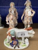 19th cent. Continental Ceramics: Figures of a gentleman and his lady, blue mark beneath two