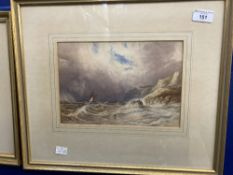 19th cent. Marine study of a stormy sea, plus a river scene. (2) 10ins. x 7ins. and 6ins. x 8ins.