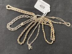 White Metal Jewellery: Eight bracelets all test as silver, all stamped 925. Total weight 37·2g.