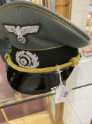 Militaria: WWII German Army Generals peaked cap with gold piping and cap cords and silver wire