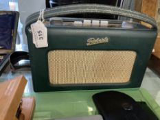 Roberts 'Revival' Radio, green leather case model no. R 250. Black and silver label to inside