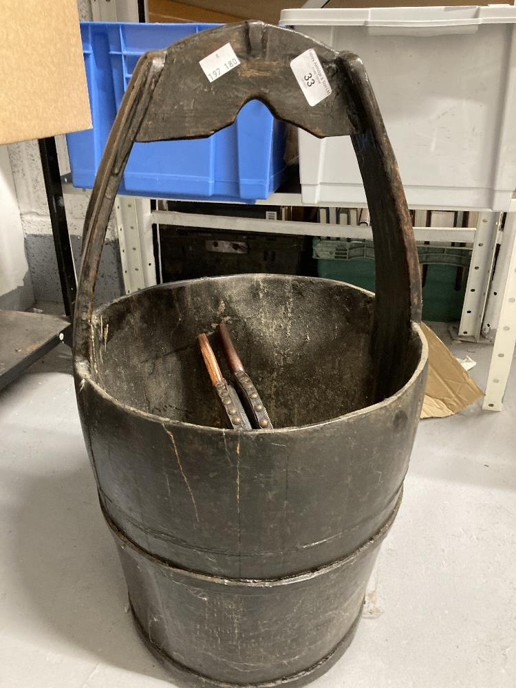 Oak coopered and handled peat or log bucket. 24ins tall. Plus a small pair of oak and leather