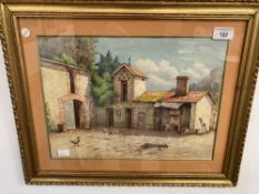 20th cent. French School watercolour of a rustic farmyard. 14ins. x 10ins.