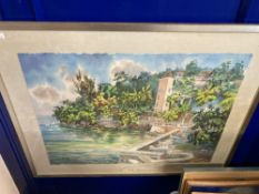 Herbie Rose 1930-2017 Jamaican watercolourist, waterside study of buildings and beach, signed