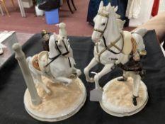 20th cent. Ceramics: Augarten Spanish riding school figurines 'Ind Den Pilaven' school between two