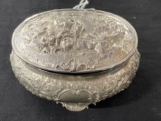 White Metal: Lidded oval dressing table pot with cover, stamped 800, with cover repousse classical