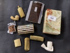 Smoking Requisites: Ronson cigarette case and lighter, Faux mother of pearl and gilt cigarette
