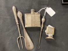 Hallmarked Silver: Hip purse or waistcoat hip flask, Birmingham mark W.B and S, William Base & Son
