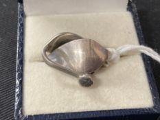 20th cent. Danish Jewellery: Georg Jensen earrings stamped 925 Denmark, stamped 128B oval Jensen