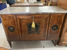 French Empire marble top sideboard with ebonised chinoiserie panels. 51ins.