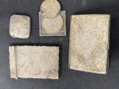 Hallmarked Silver: Vesta, cigarette case, card case, plus two silver coins, various hallmarks. Total