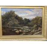 George Wells (Act 1842-1888): 'The Bend of The River North Wales' oil on canvas, signed lower left.