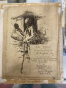 Hubert von Herkomer (1849-1914): 19th cent. Etching of a woodsman, an invite to A. H. Russ to a
