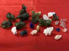 20th cent. Oriental carved soapstone and glass animals. Approx. 20.
