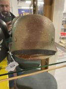 Militaria: WWII replica German army steel helmet with a Normandy three colour camouflage paint