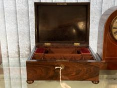 20th cent. Rosewood work box with fitted interior. 11½ins. x 9ins. x 5ins.