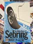Motorsport: Sebring 1965 March 26-27 colour promotional poster. 33ins. x 22ins.