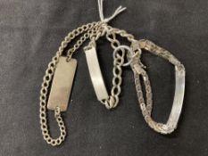Hallmarked Silver: Three ID bracelets hallmarked London and Birmingham. Total weight 50g.