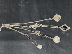 Hallmarked Silver: Four necklets with pendants, all hallmarked Birmingham. Total weight 70g.