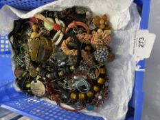 Costume Jewellery: Ethnic stye pendants and necklaces, also white metal chains, etc. 2 Trays. (Trays