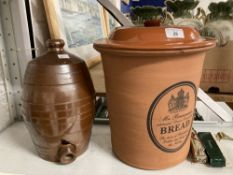 20th cent. Ceramics: Terracotta bread bin and cider barrel plus a miniature Dominoes set and a
