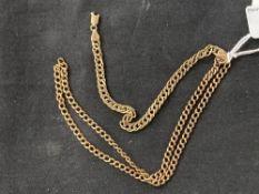 Hallmarked Gold: 9ct. Gold bracelet hallmarked Birmingham import stamp, and a yellow metal