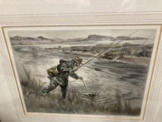 Limited Edition Prints: Signed Henry Wilkinson angling print 2/150. 10ins. x 14ins.